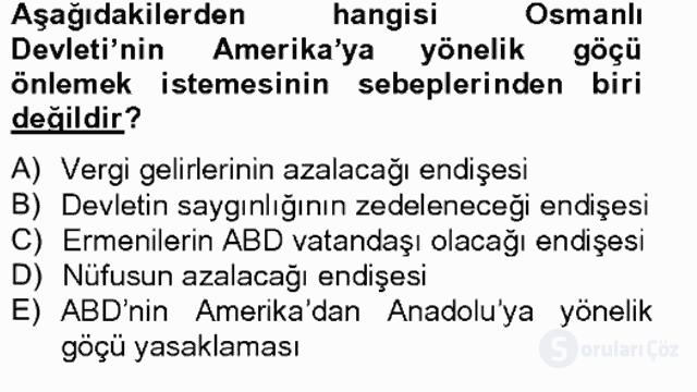 Osmanlıda İskan ve Göç Bahar Final 17. Soru