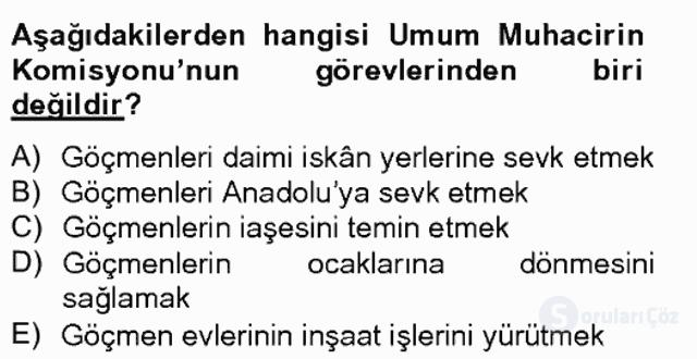 Osmanlıda İskan ve Göç Bahar Final 18. Soru