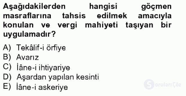Osmanlıda İskan ve Göç Bahar Final 19. Soru