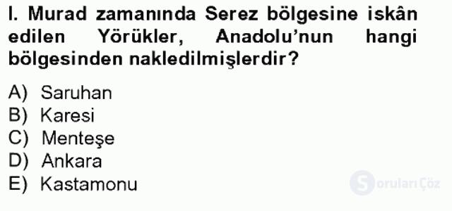 Osmanlıda İskan ve Göç Bahar Final 2. Soru