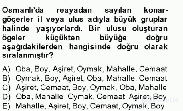 Osmanlıda İskan ve Göç Bahar Final 5. Soru