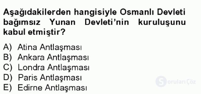 Osmanlı Tarihi (1789–1876) Bahar Final 12. Soru