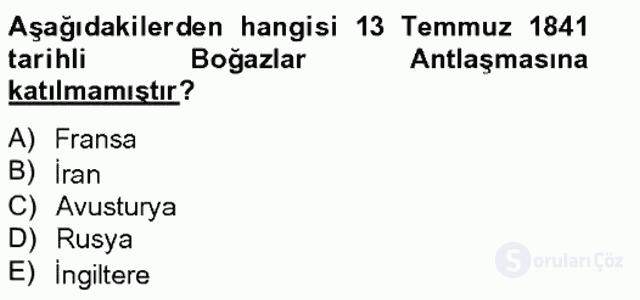 Osmanlı Tarihi (1789–1876) Bahar Final 13. Soru