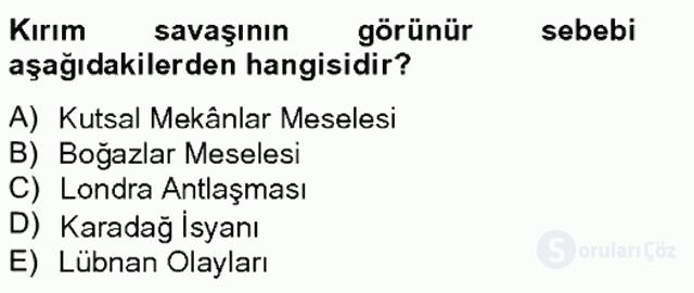 Osmanlı Tarihi (1789–1876) Bahar Final 15. Soru