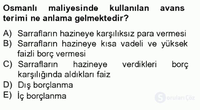 Osmanlı Devleti Yenileşme Hareketleri (1703-1876) Bahar Final 12. Soru