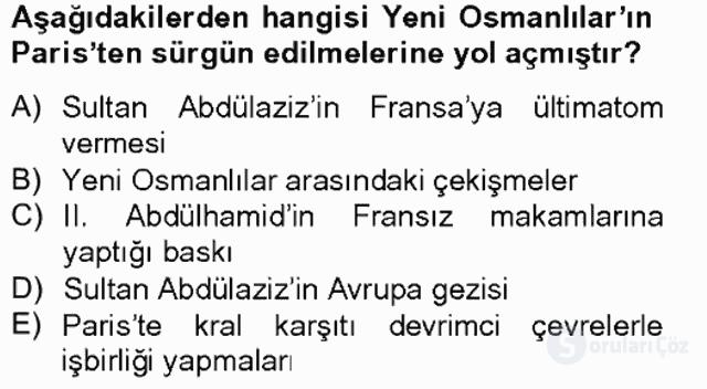 Osmanlı Devleti Yenileşme Hareketleri (1703-1876) Bahar Final 15. Soru