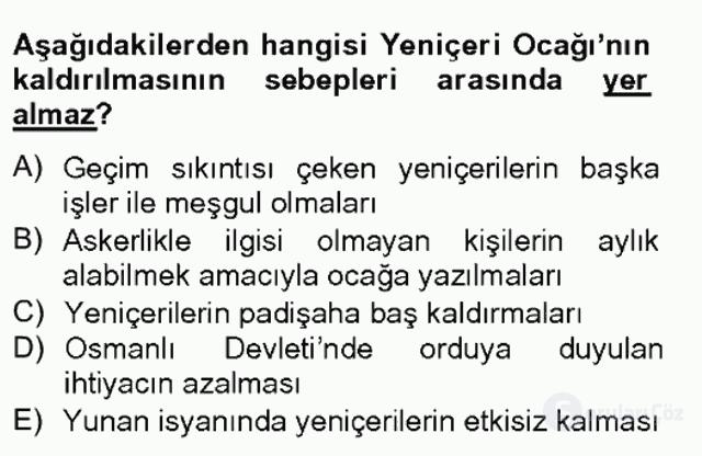 Osmanlı Devleti Yenileşme Hareketleri (1703-1876) Bahar Final 2. Soru