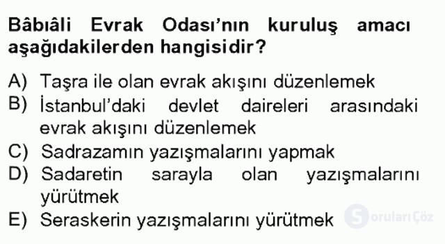 Osmanlı Devleti Yenileşme Hareketleri (1703-1876) Bahar Final 3. Soru