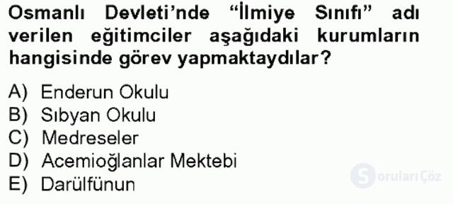 Türk Eğitim Tarihi Bahar Final 1. Soru