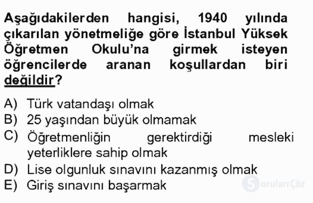 Türk Eğitim Tarihi Bahar Final 12. Soru