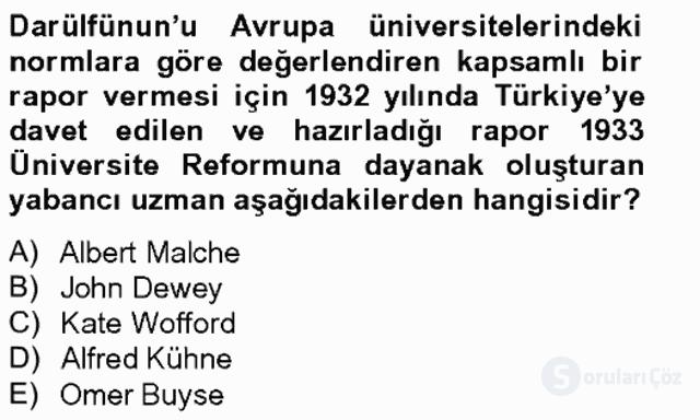 Türk Eğitim Tarihi Bahar Final 14. Soru
