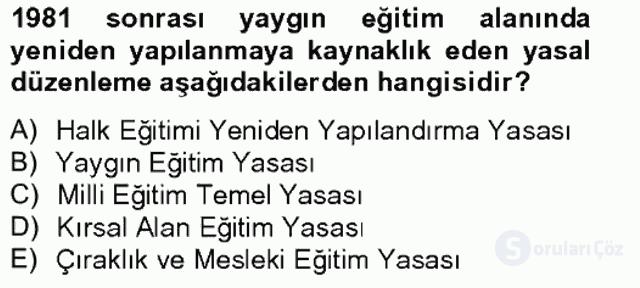 Türk Eğitim Tarihi Bahar Final 19. Soru