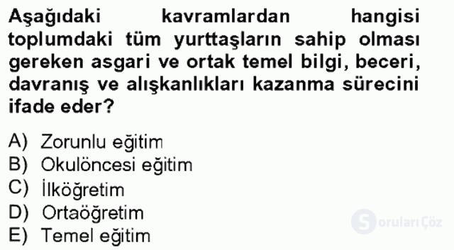 Türk Eğitim Tarihi Bahar Final 4. Soru