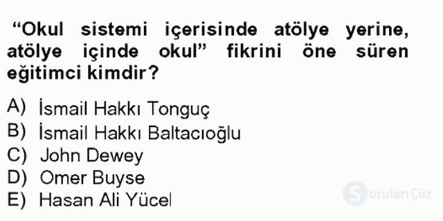 Türk Eğitim Tarihi Bahar Final 9. Soru