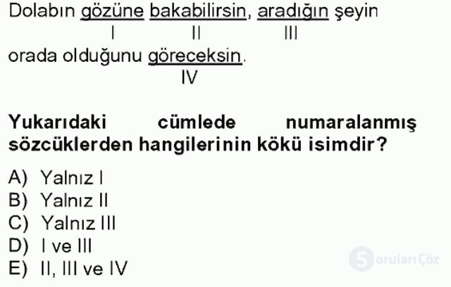 Türkçe Biçim Bilgisi Bahar Final 1. Soru