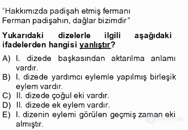 Türkçe Biçim Bilgisi Bahar Final 12. Soru