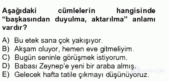 Türkçe Biçim Bilgisi Bahar Final 13. Soru