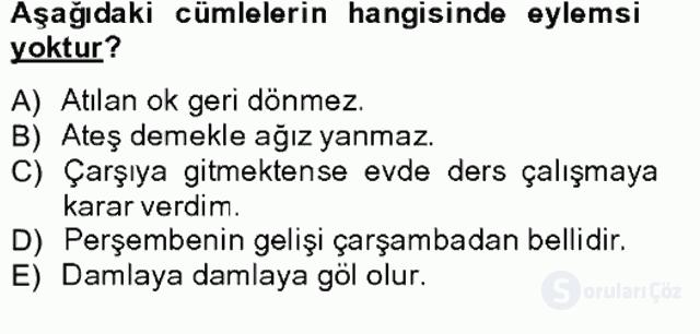 Türkçe Biçim Bilgisi Bahar Final 14. Soru