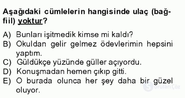 Türkçe Biçim Bilgisi Bahar Final 15. Soru