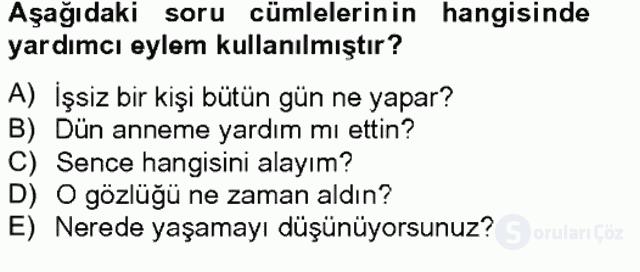 Türkçe Biçim Bilgisi Bahar Final 18. Soru