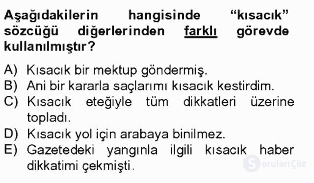 Türkçe Biçim Bilgisi Bahar Final 4. Soru