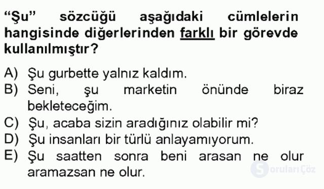 Türkçe Biçim Bilgisi Bahar Final 6. Soru