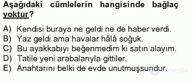 Türkçe Biçim Bilgisi Bahar Final 7. Soru