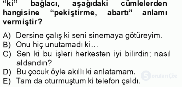 Türkçe Biçim Bilgisi Bahar Final 8. Soru