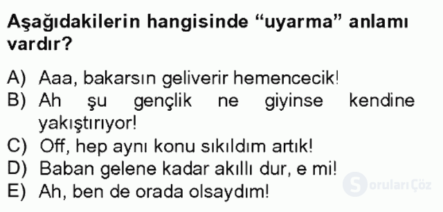 Türkçe Biçim Bilgisi Bahar Final 9. Soru