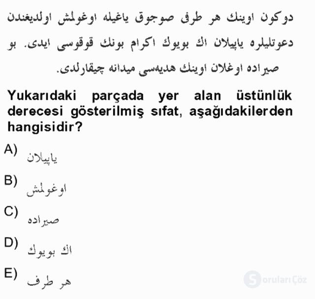 Osmanlı Türkçesine Giriş II Bahar Final 4. Soru