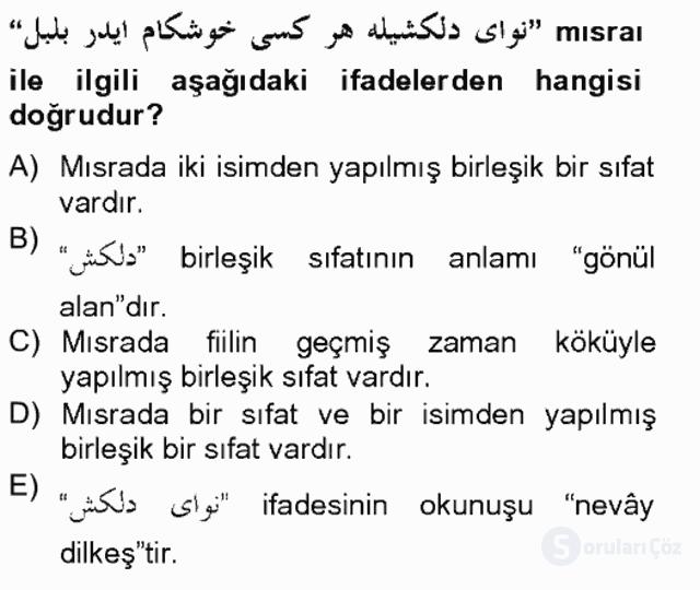 Osmanlı Türkçesi Grameri II Bahar Final 6. Soru