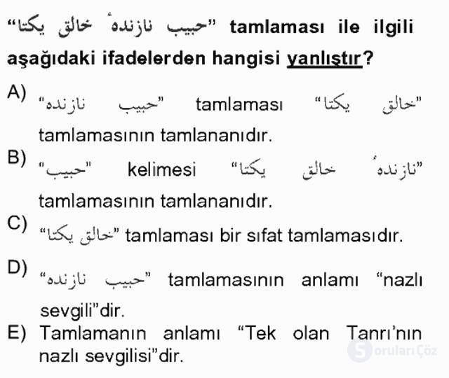 Osmanlı Türkçesi Grameri II Bahar Final 9. Soru