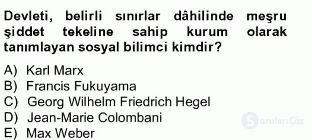 Uluslararası Politika II Bahar Final 19. Soru