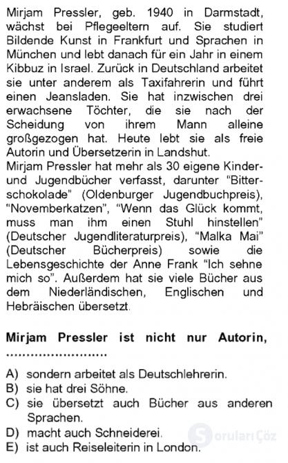 Almanca II Tek Ders 15. Soru