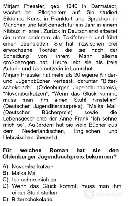 Almanca II Tek Ders 16. Soru