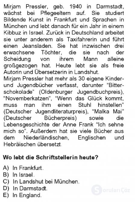 Almanca II Tek Ders 17. Soru