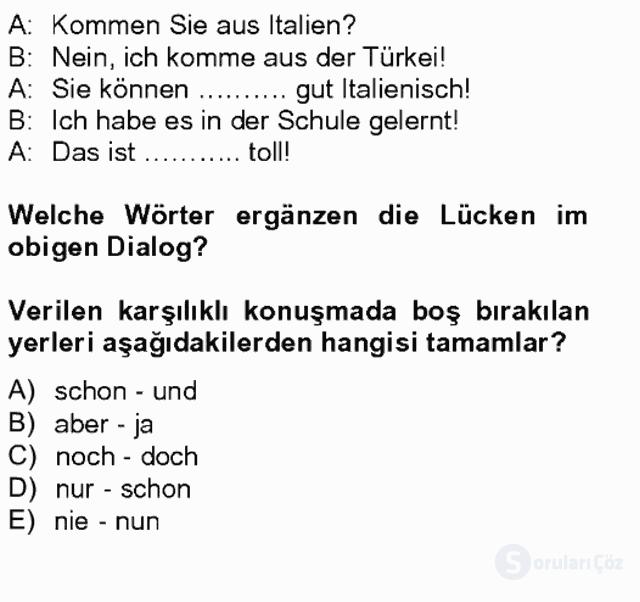Almanca II Tek Ders 19. Soru