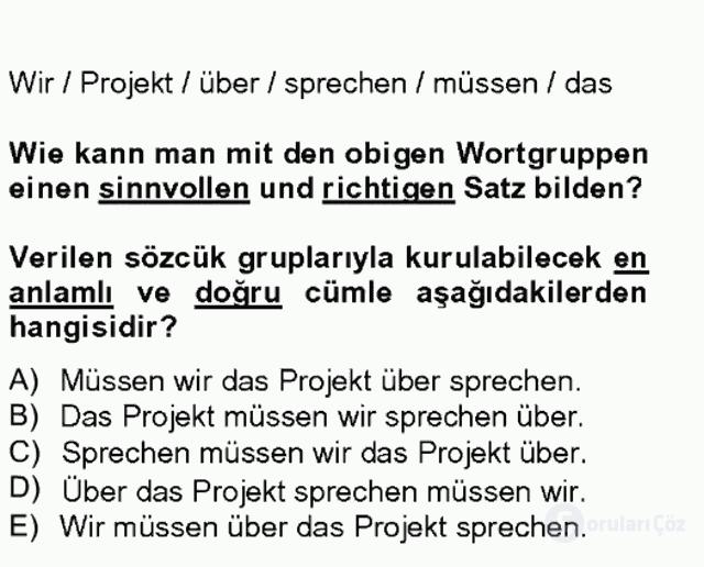 Almanca II Tek Ders 5. Soru