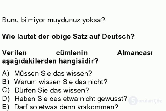 Almanca II Tek Ders 6. Soru