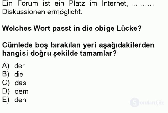 Almanca II Tek Ders 7. Soru