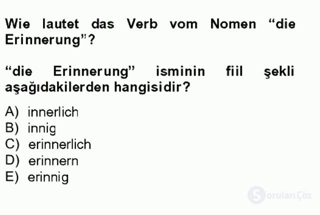 Almanca II Tek Ders 9. Soru