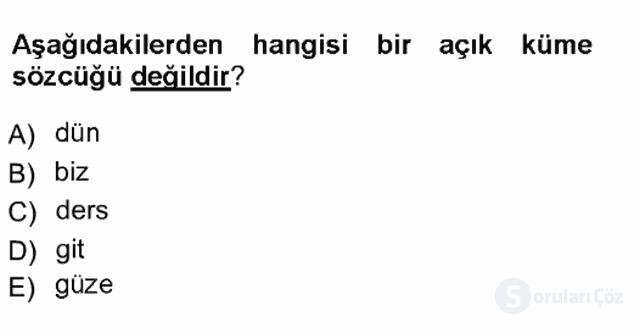 Genel Dilbilim I Tek Ders 11. Soru