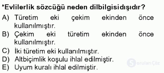 Genel Dilbilim I Tek Ders 8. Soru
