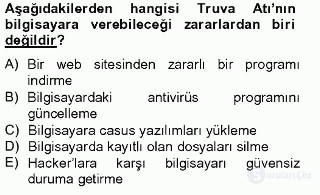 Temel Bilgi Teknolojileri II Tek Ders 19. Soru