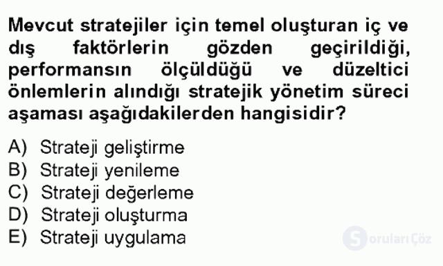 Stratejik Yönetim I Tek Ders 11. Soru