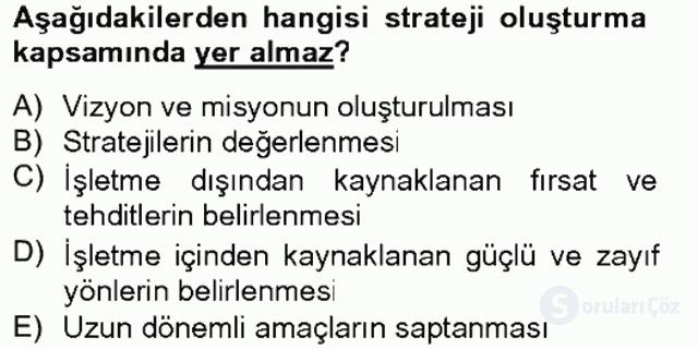 Stratejik Yönetim I Tek Ders 12. Soru