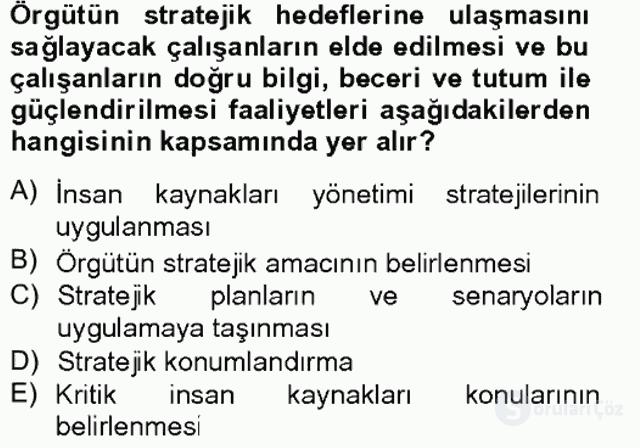 Stratejik Yönetim I Tek Ders 5. Soru