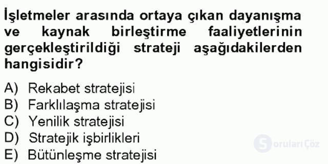 Stratejik Yönetim I Tek Ders 7. Soru