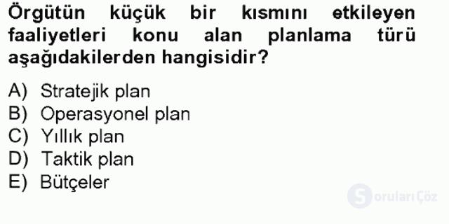 Stratejik Yönetim I Tek Ders 9. Soru