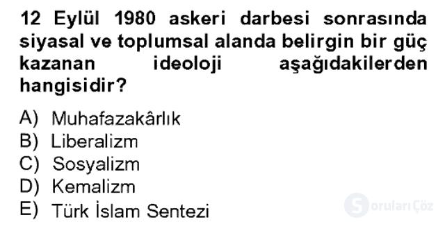 Türk Siyasal Hayatı Bahar Dönemi Final Final 10. Soru